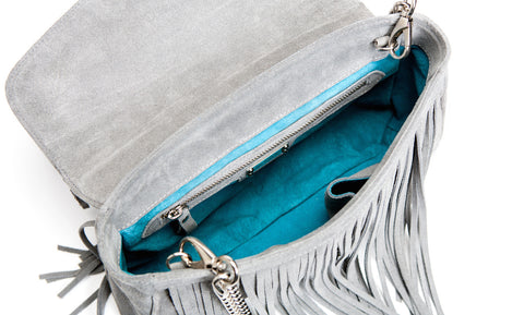 Mel Boteri Grey Suede Leather 'Taylea' Fringe Leather Bag | Interior View