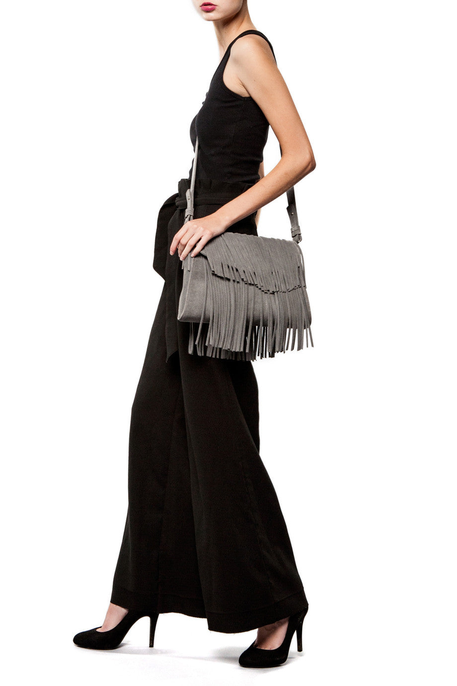 Mel Boteri Grey Suede Leather 'Taylea' Fringe Leather Bag | Model View | Leather Adjustable Strap