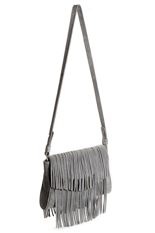 The 'Visions of Vogue' Grey Suede Fringe Handbag | Side View | Mel Boteri