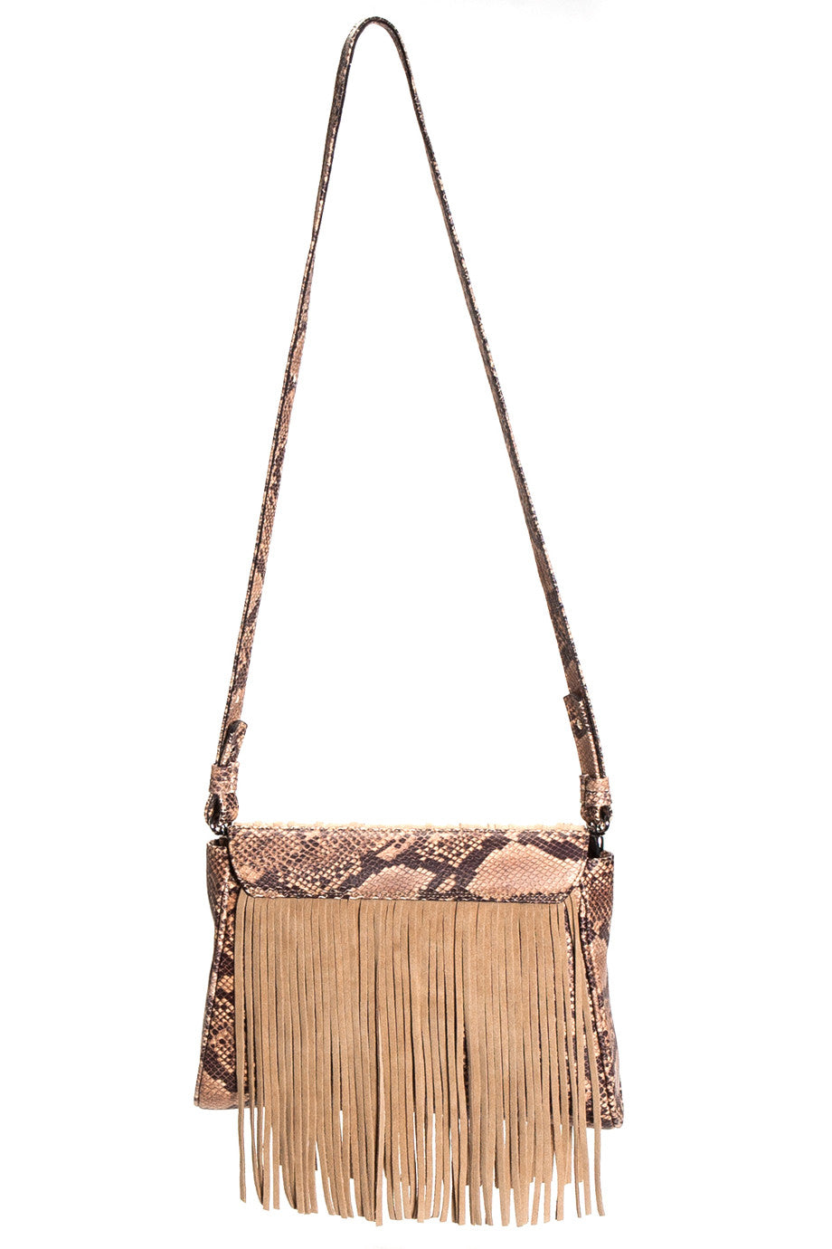 Mel Boteri Faux Python & Suede Fringe Leather 'Taylea' Bag | Back View