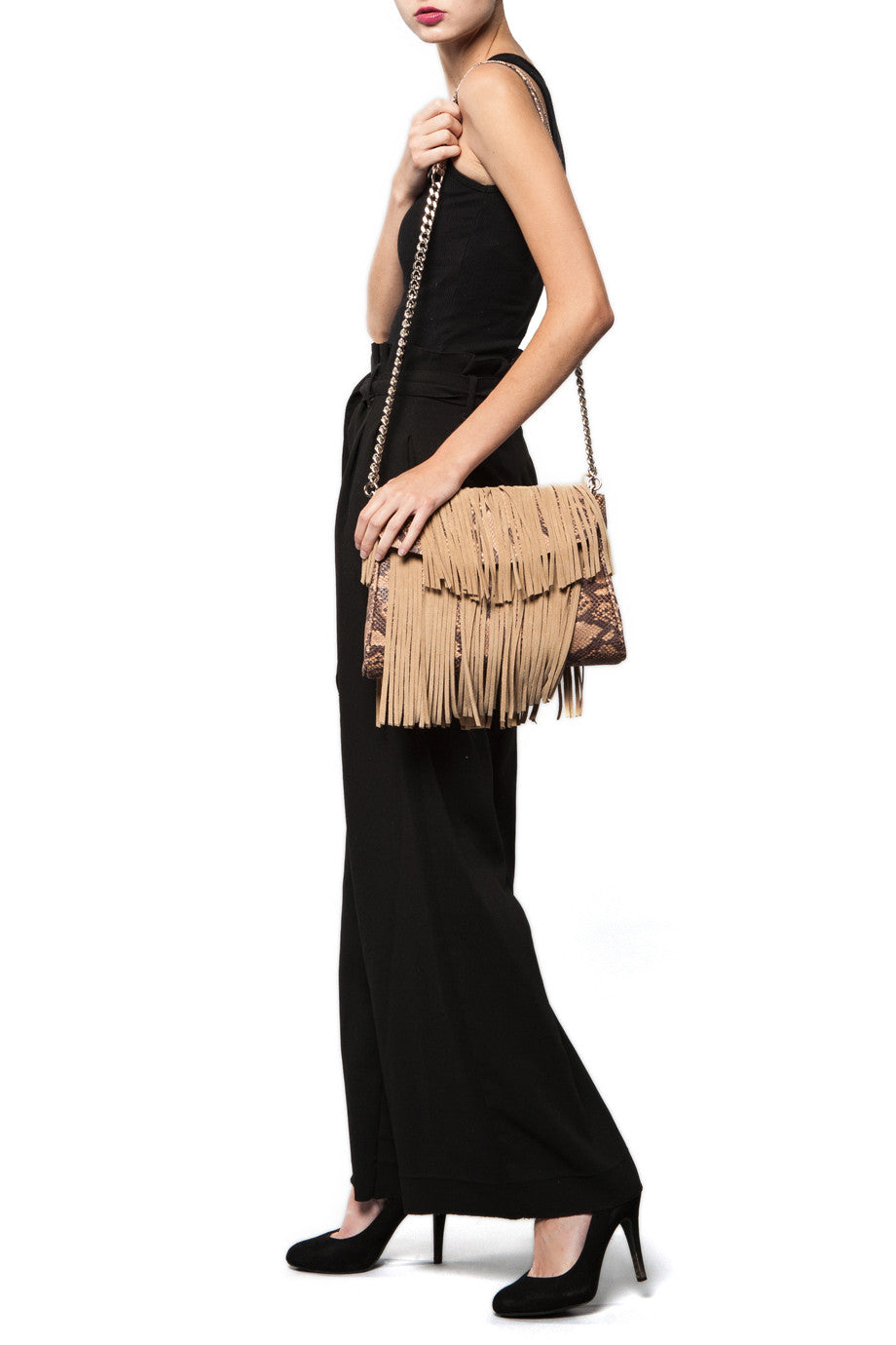 Mel Boteri Faux Python & Suede Fringe Leather 'Taylea' Bag | Chain Strap