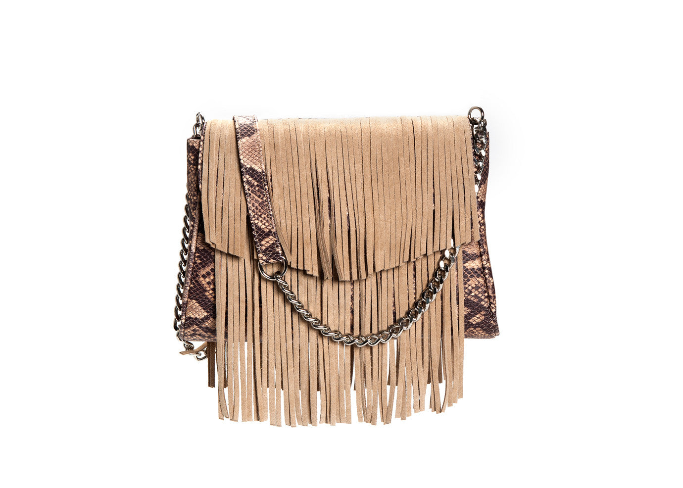 Mel Boteri Faux Python & Suede Fringe Leather 'Taylea' Bag | Detail Chain