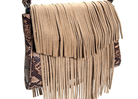 Mel Boteri Faux Python & Suede Fringe Leather 'Taylea' Bag | Detail Fringe