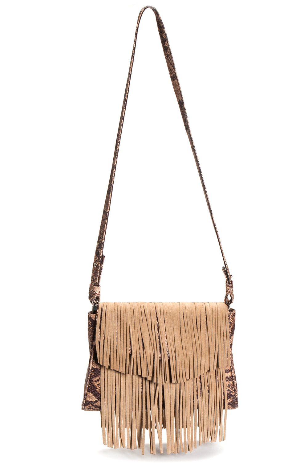 Mel Boteri Faux Python & Suede Fringe Leather 'Taylea' Bag | Front View