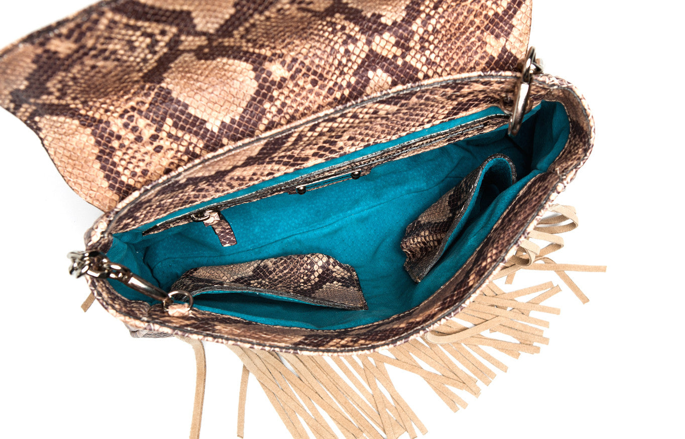 'Taylea' Faux Python & Suede Fringe Leather Handbag