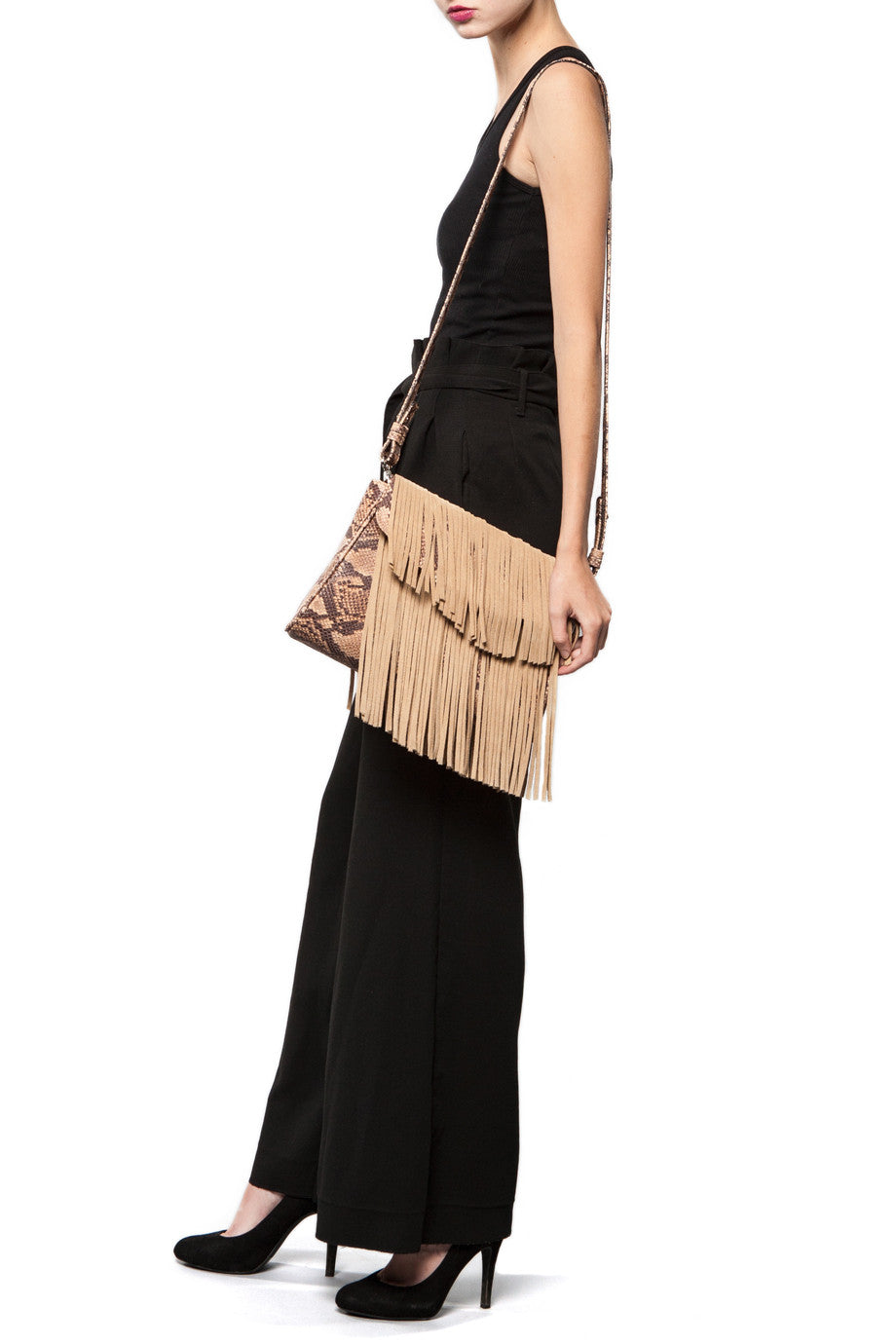 Mel Boteri Faux Python & Suede Fringe Leather 'Taylea' Bag | Model Leather Strap