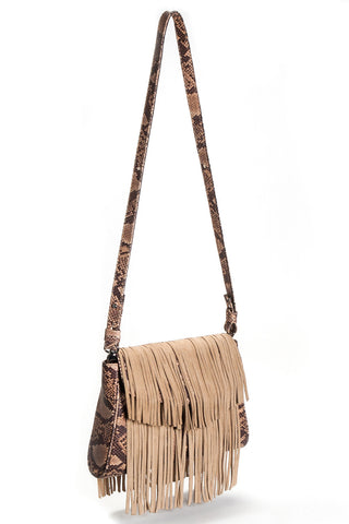 Mel Boteri Faux Python & Suede Fringe Leather 'Taylea' Bag | Side View
