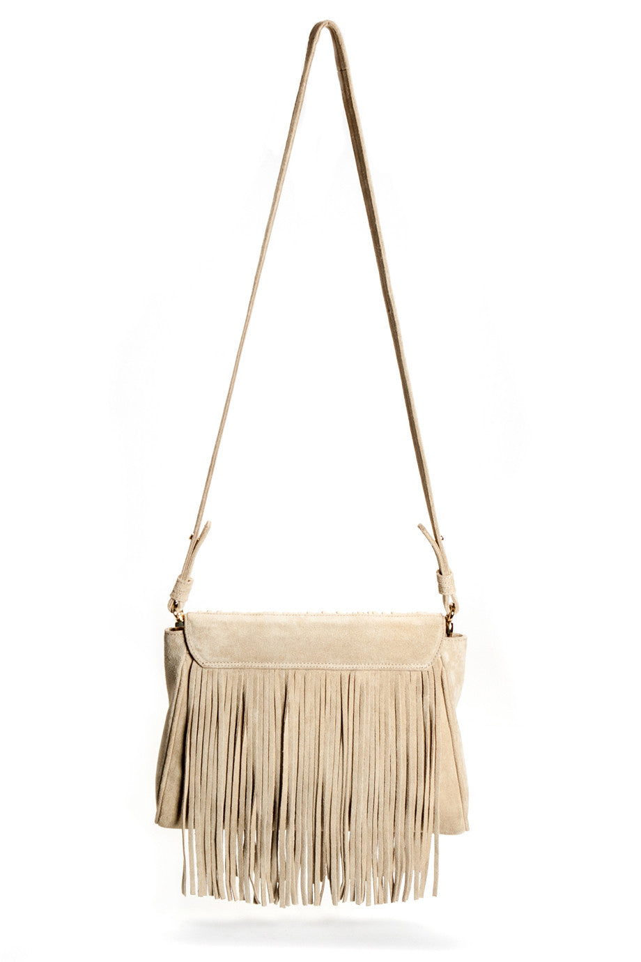 The 'June Moss' Beige Suede Fringe Handbag | Back View | Mel Boteri