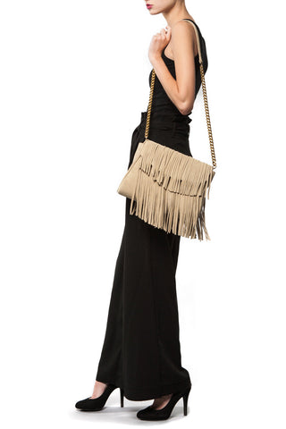 The 'June Moss' Beige Suede Fringe Handbag | Modeled | Mel Boteri