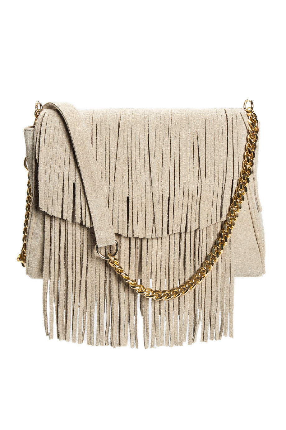 The 'June Moss' Beige Suede Fringe Handbag | Detail View | Mel Boteri