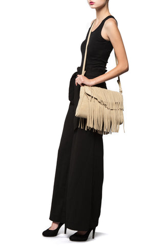 The 'June Moss' Beige Suede Fringe Handbag | Mel Boteri | Model