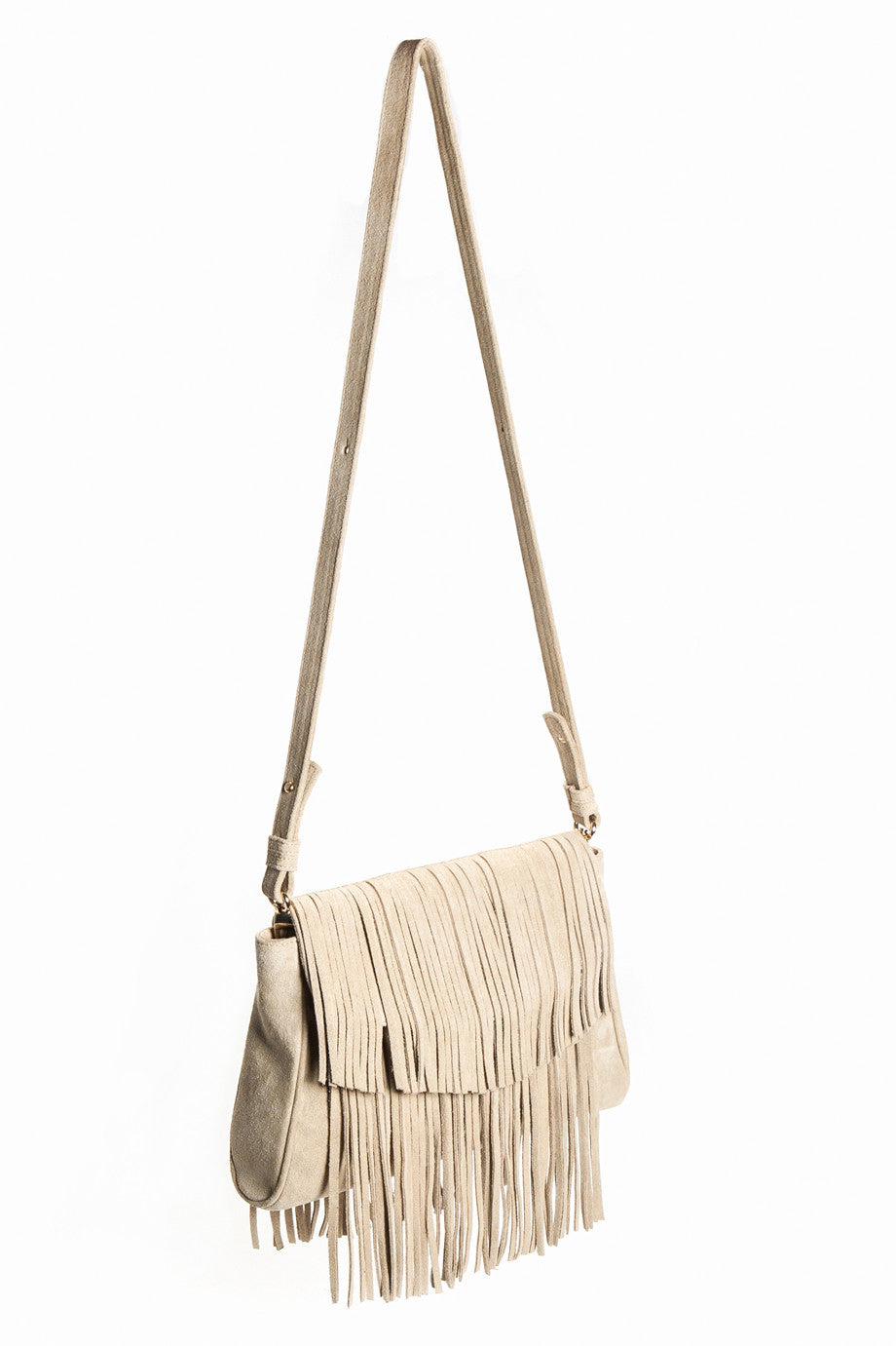 The 'June Moss' Beige Suede Fringe Handbag | Side View | Mel Boteri
