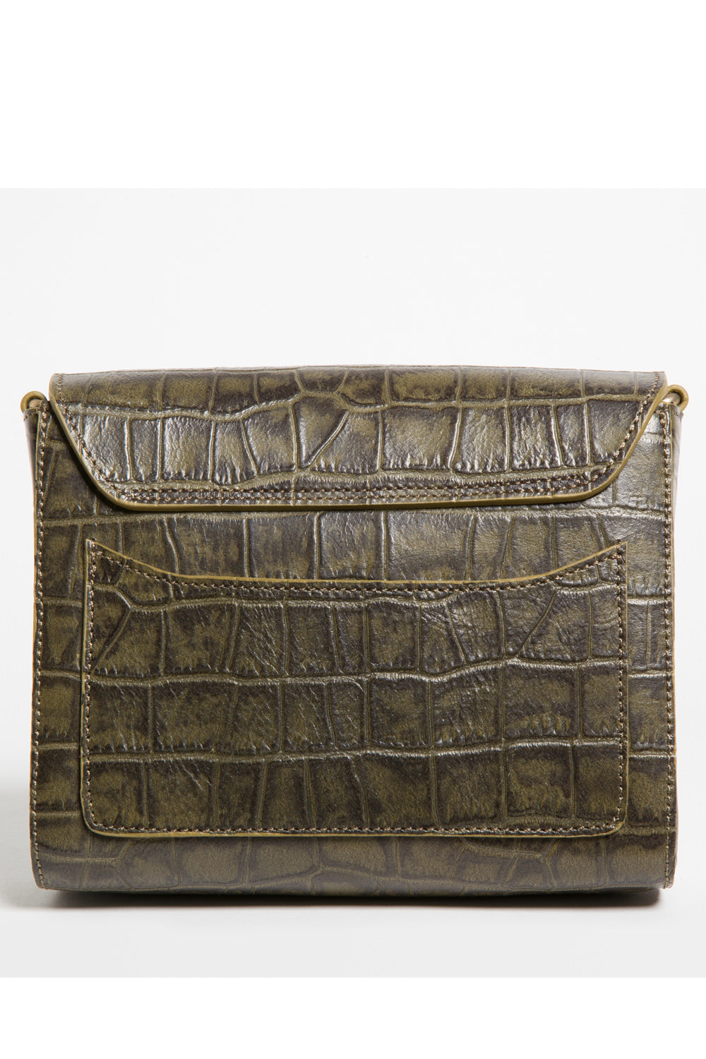 'Gema' Small Shoulder Bag in Green Moss, Croc-Emboss Leather | Mel Boteri | Back View