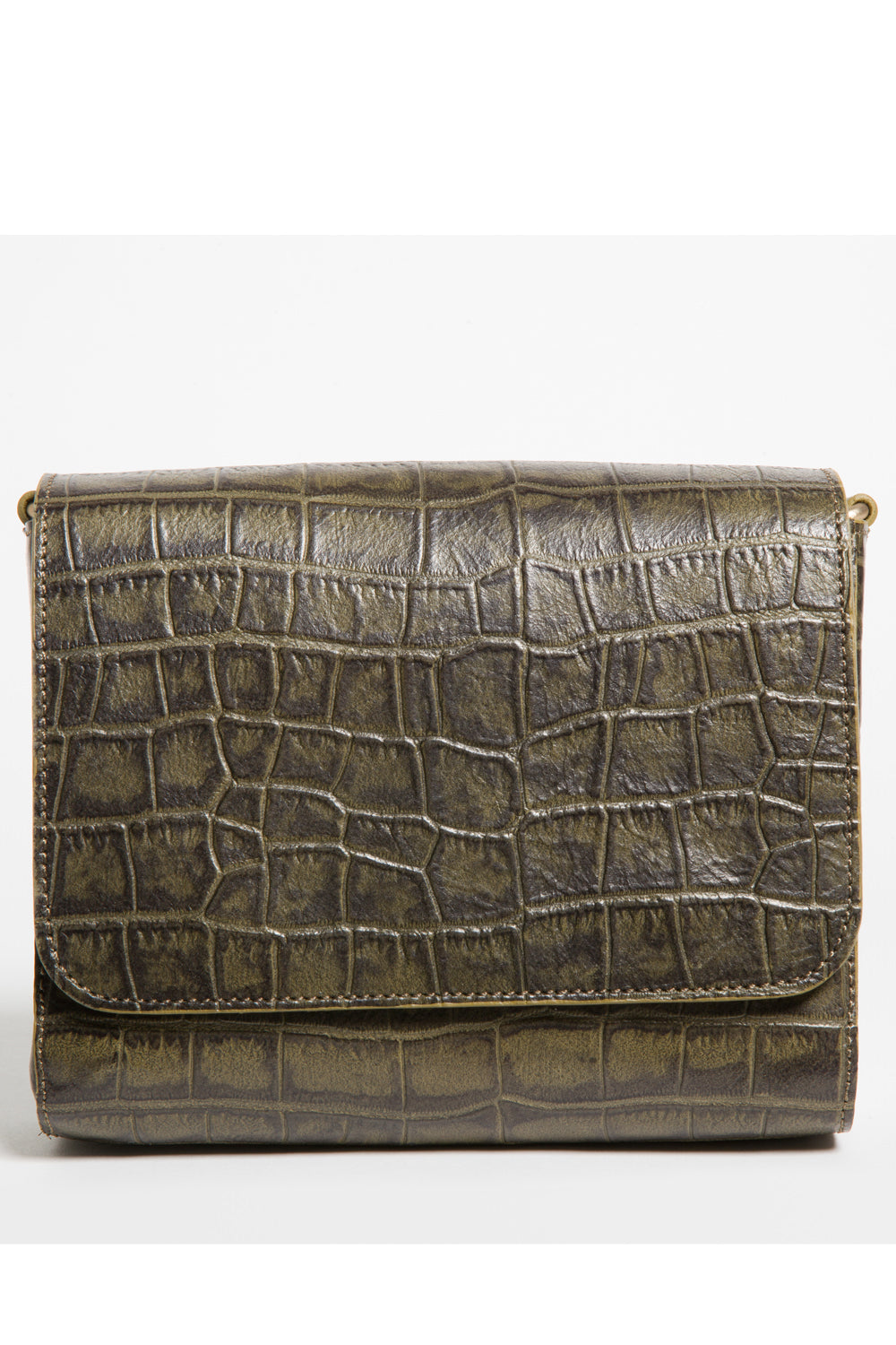 'Gema' Small Shoulder Bag in Green Moss, Croc-Emboss Leather | Mel Boteri | Clutch View
