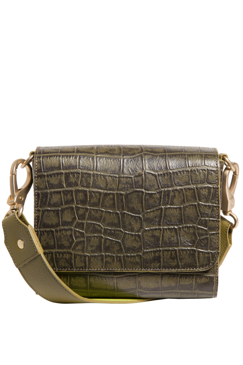 'Gema' Small Shoulder Bag in Green Moss, Croc-Emboss Leather | Mel Boteri | Front View