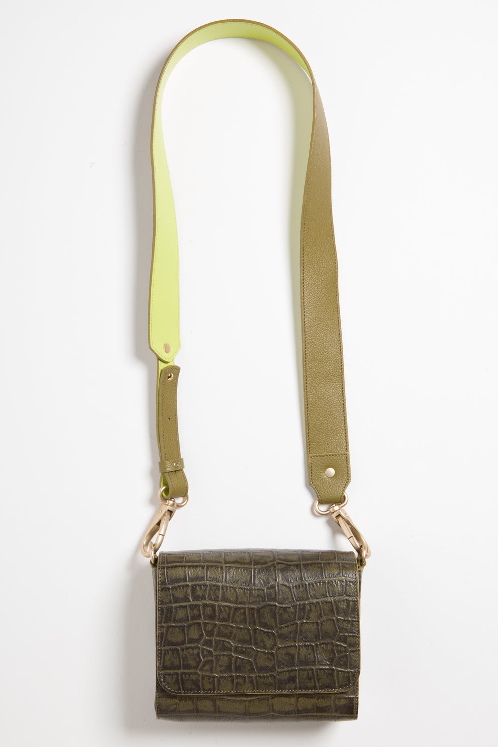 'Gema' Small Shoulder Bag in Green Moss, Croc-Emboss Leather | Mel Boteri | Long Strap View
