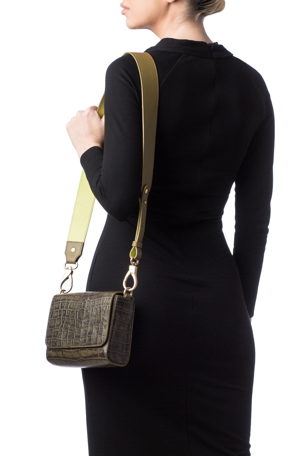 'Gema' Small Shoulder Bag in Green Moss, Croc-Emboss Leather | Mel Boteri | On Body View