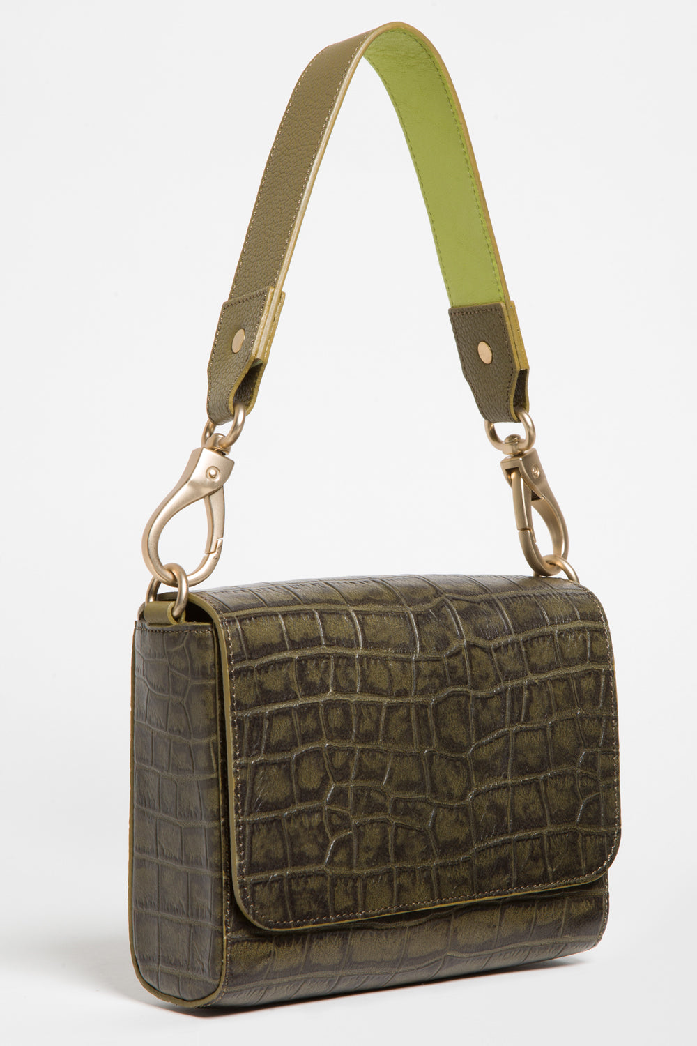 'Gema' Small Shoulder Bag in Green Moss, Croc-Emboss Leather | Mel Boteri | Short Strap View