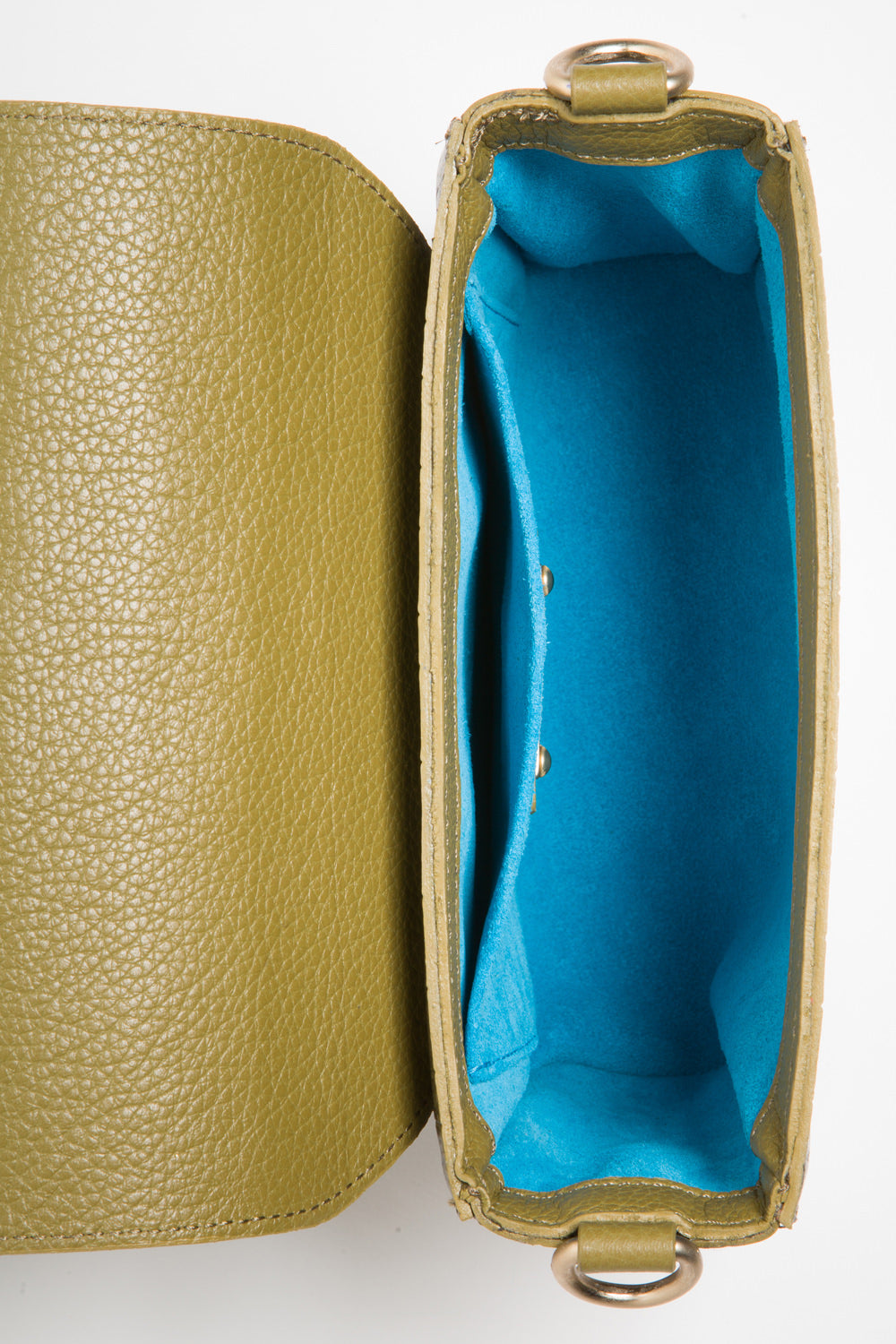 'Gema' Small Shoulder Bag in Green Moss, Croc-Emboss Leather | Mel Boteri | Turquoise Suede Lining View
