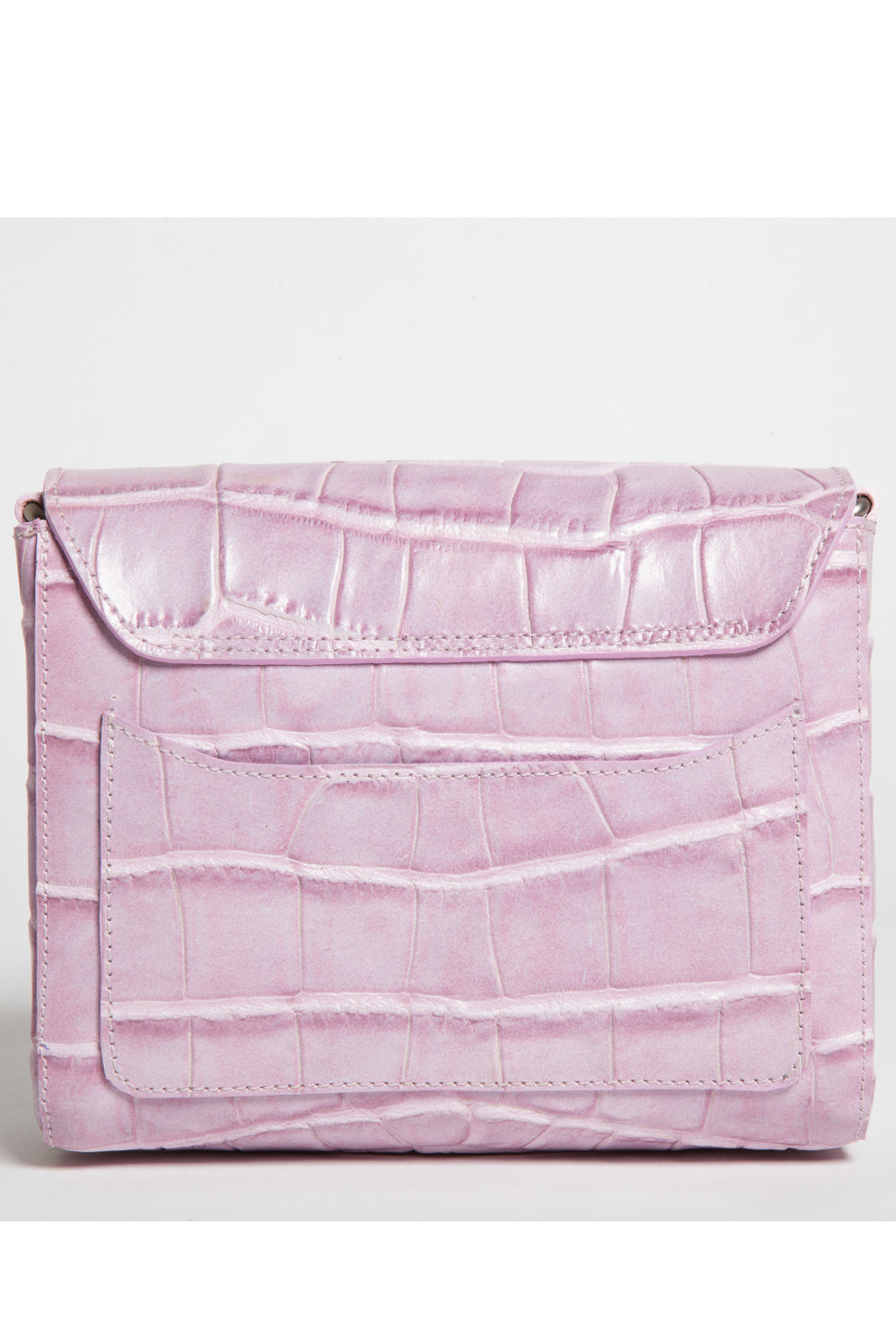'Gema' Small Shoulder Bag in Sweet Lilac, Croc-Emboss Leather | Mel Boteri | Back View