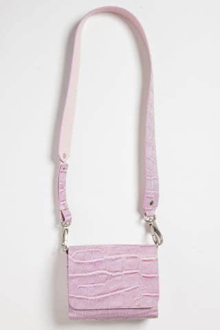 'Gema' Small Shoulder Bag in Sweet Lilac, Croc-Emboss Leather | Mel Boteri | Long Strap View