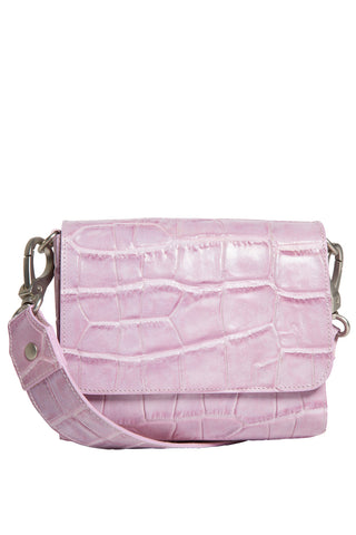 'Gema' Small Shoulder Bag in Sweet Lilac, Croc-Emboss Leather | Mel Boteri | Front View