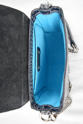 'Gema' Small Shoulder Bag in Grey, Croc-Emboss Leather | Mel Boteri | Interior View | Signature Turquoise Lining