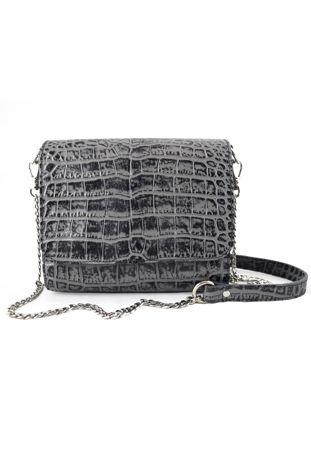 'Gema' Small Shoulder Bag in Grey, Croc-Emboss Leather | Mel Boteri | Front View