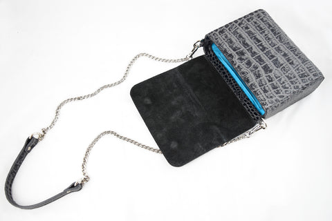'Gema' Small Shoulder Bag in Grey, Croc-Emboss Leather | Mel Boteri | Open View