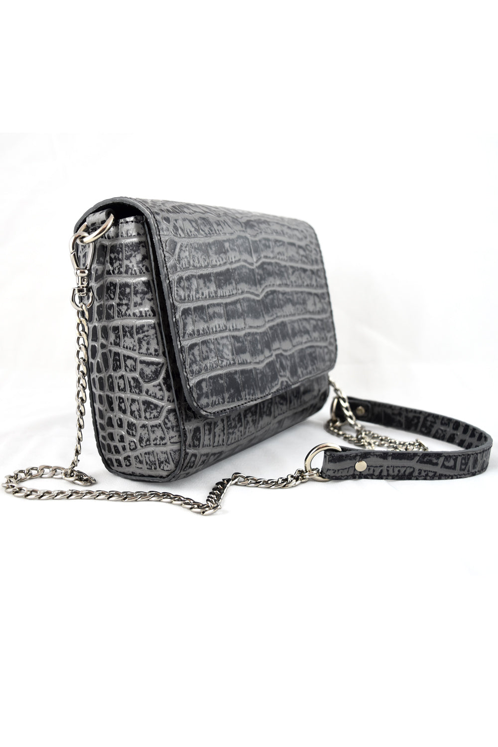 'Gema' Small Shoulder Bag in Grey, Croc-Emboss Leather | Mel Boteri | Side View
