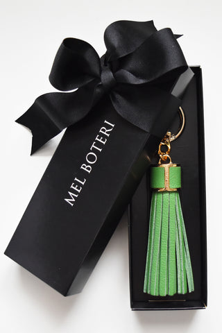 Mel Boteri | Shamrock Green Leather Tassel Bag and Key Charm | Gold Hardware | Model
