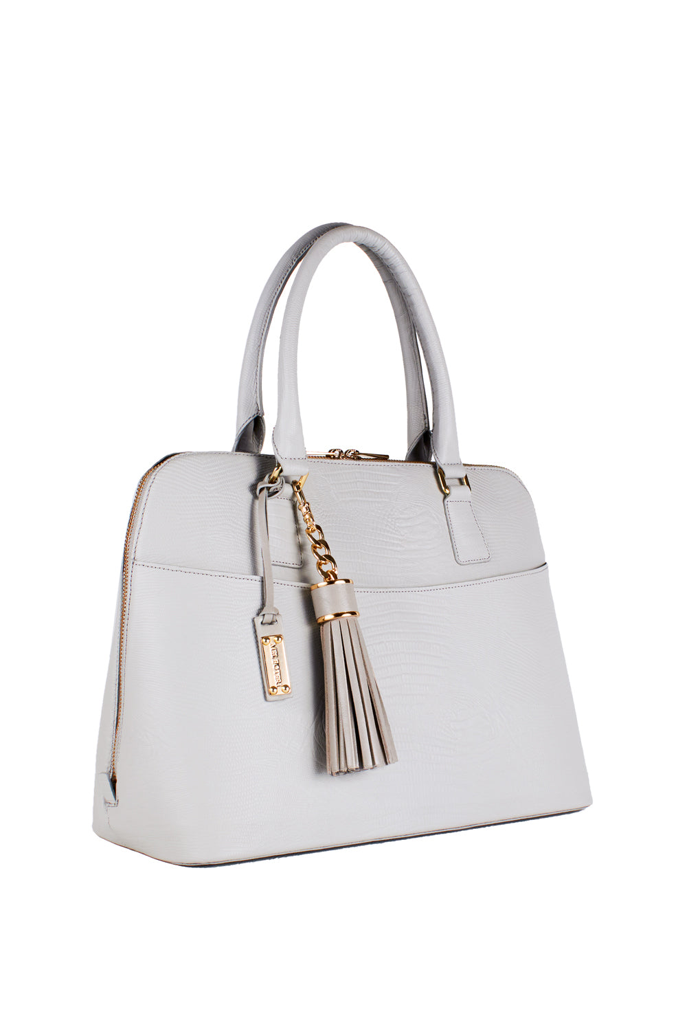 Mel Boteri | Grey Tejus Lizard-Print Leather 'Watson' Tote | Side View