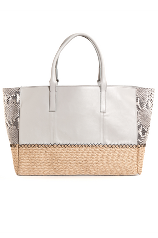 Harbor Grey Python Leather & Espadrille 'Ellis' Large Tote