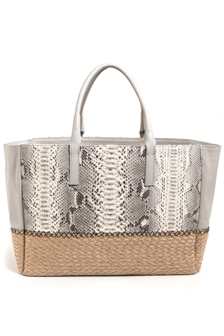 Mel Boteri | Harbor Grey Python Leather & Espadrille 'Ellis' Tote | Back View