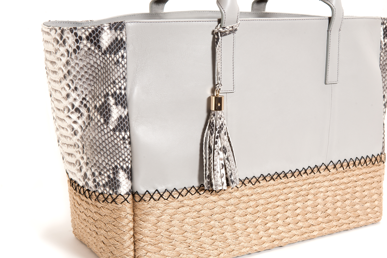 Mel Boteri | Harbor Grey Python Leather & Espadrille 'Ellis' Tote | Detail View