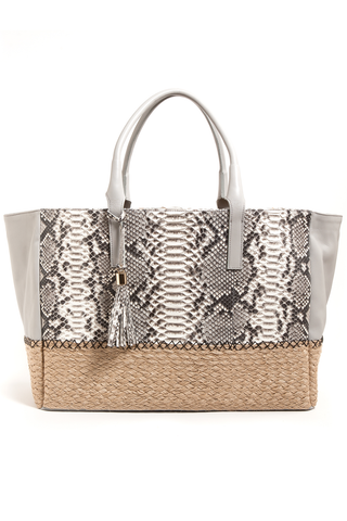 Mel Boteri | Harbor Grey Python Leather & Espadrille 'Ellis' Tote | Front View