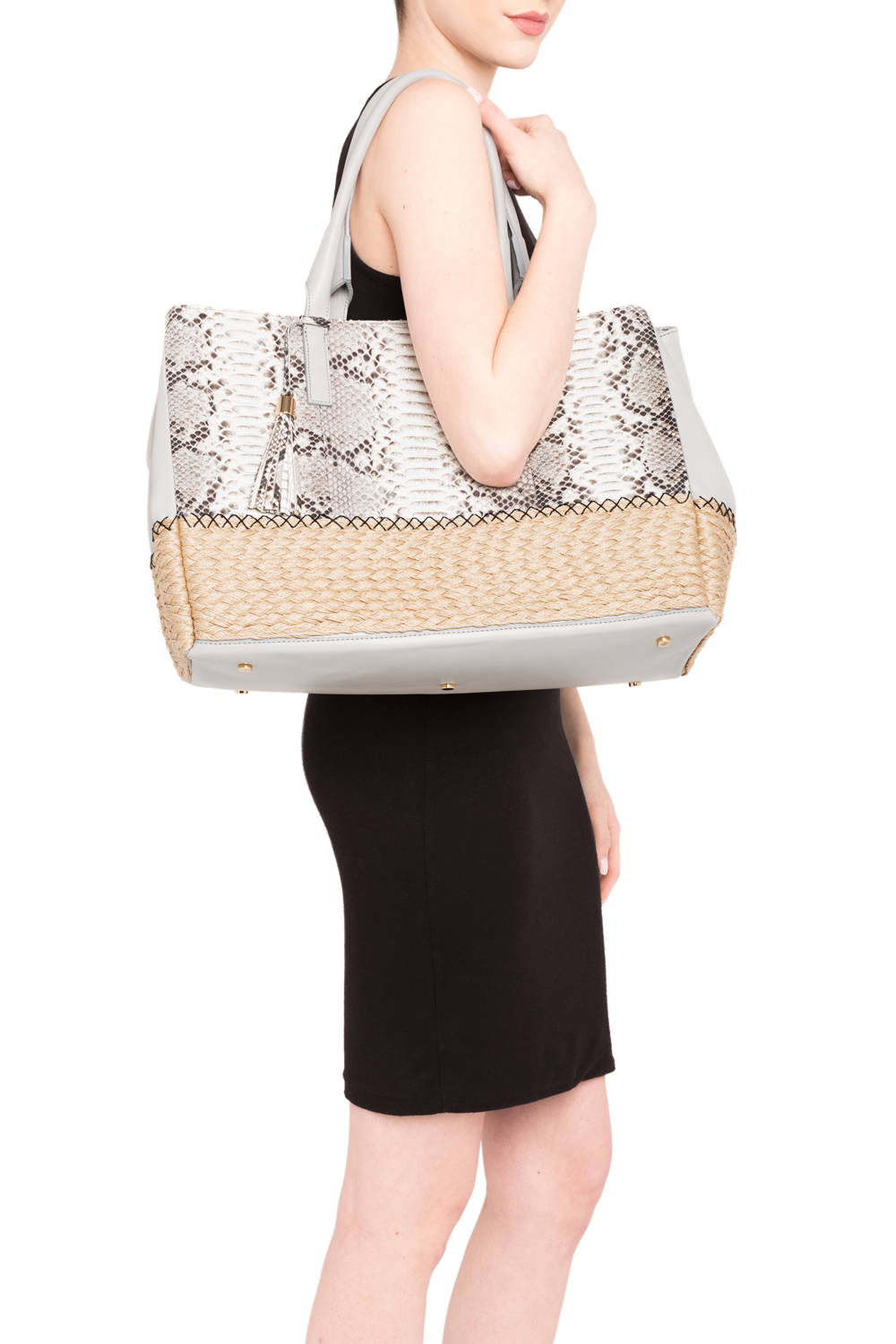 Mel Boteri | Harbor Grey Python Leather & Espadrille 'Ellis' Tote | Model View