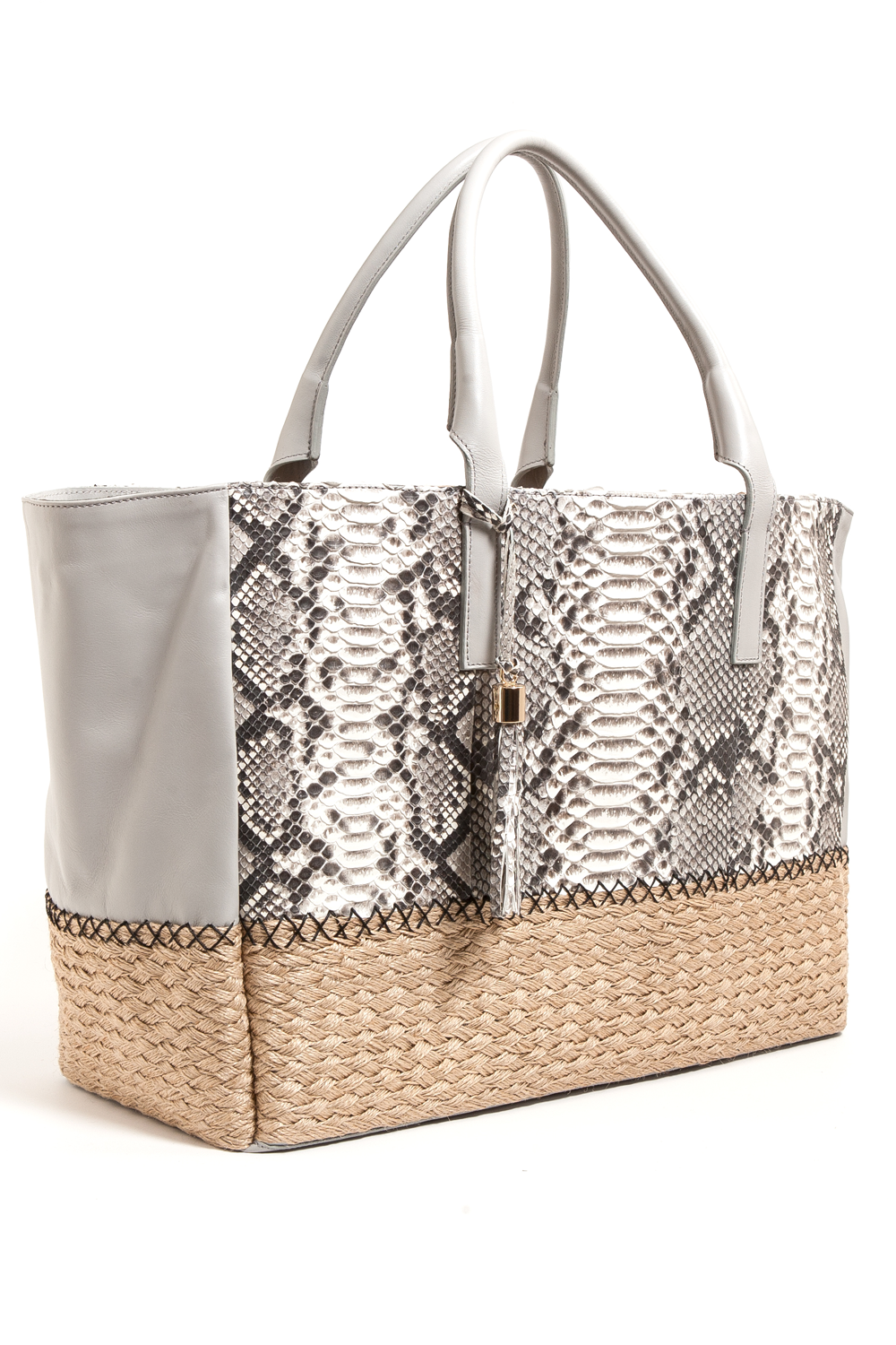 Mel Boteri | Harbor Grey Python Leather & Espadrille 'Ellis' Tote | Side View