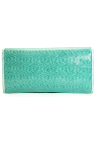 'Cara' Envelope Clutch in Iceberg Snake-Effect Leather | Mel Boteri | Back View