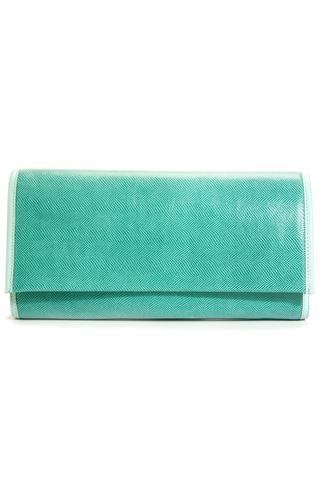 'Cara' Envelope Clutch in Iceberg Snake-Effect Leather | Mel Boteri | Front View