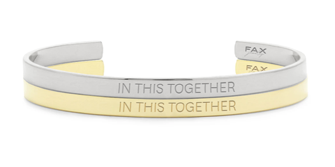 FAX Jewelry | In This Together Cuff Bracelet | 18K Gold | Benefitting GLAM4GOOD COVID-19 Critical Aid Fund | Also Available in Silver