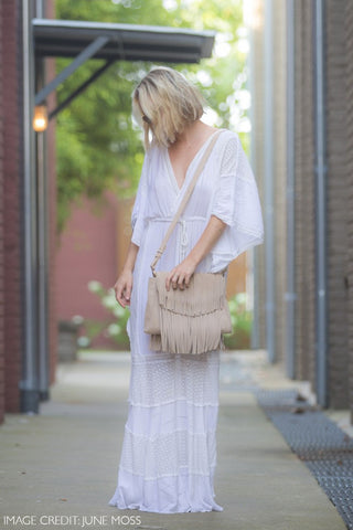 The 'June Moss' Beige Suede Fringe Handbag