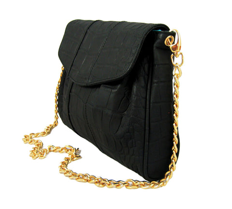 Black Croc-Embossed 'Lola' Small Shoulder Bag