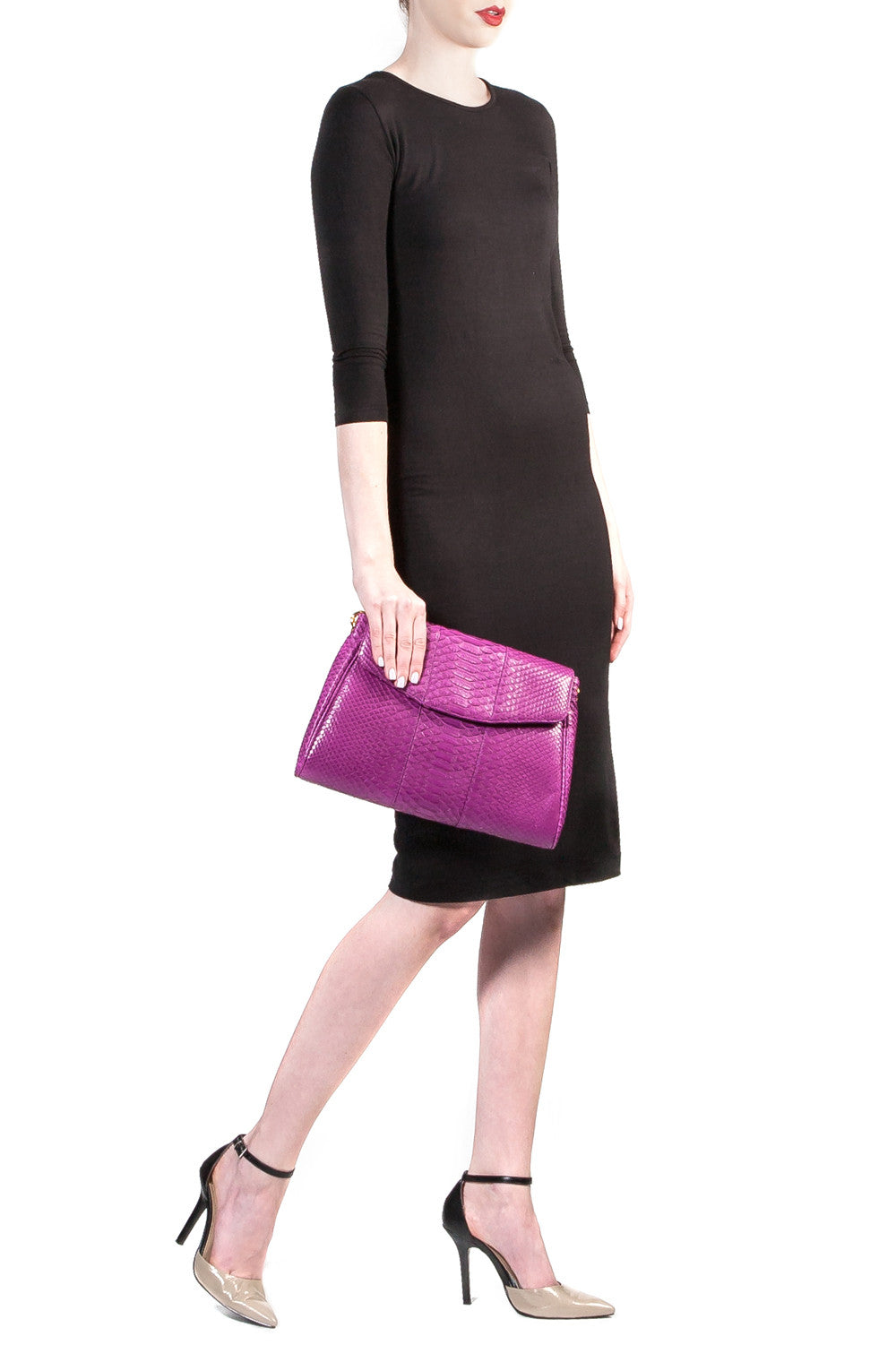 Magenta 'Coco' Small Shoulder Bag - Python | Mel Boteri | Model View