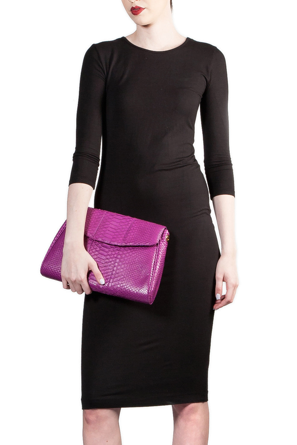 Magenta 'Coco' Small Shoulder Bag - Python | Mel Boteri | Clutch View