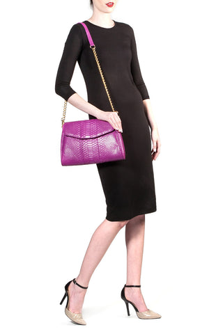 Magenta 'Coco' Small Shoulder Bag - Python | Mel Boteri | Shoulder Strap View