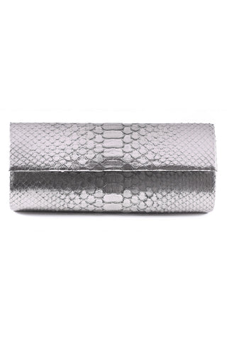 Gunmetal Metallic Python Leather 'Audrey' Cocktail Clutch