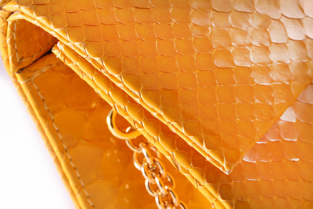 Glazed Sunglow Yellow Python Leather 'Audrey' Cocktail Clutch