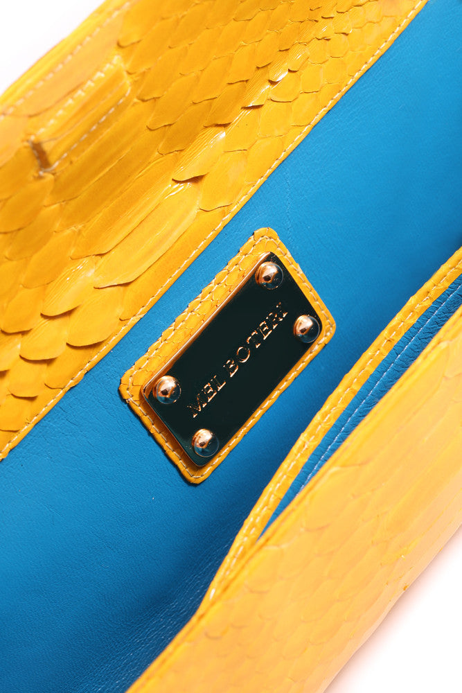 "Mel Boteri | Glazed Sunglow Yellow Python Leather ""Audrey"" Clutch 