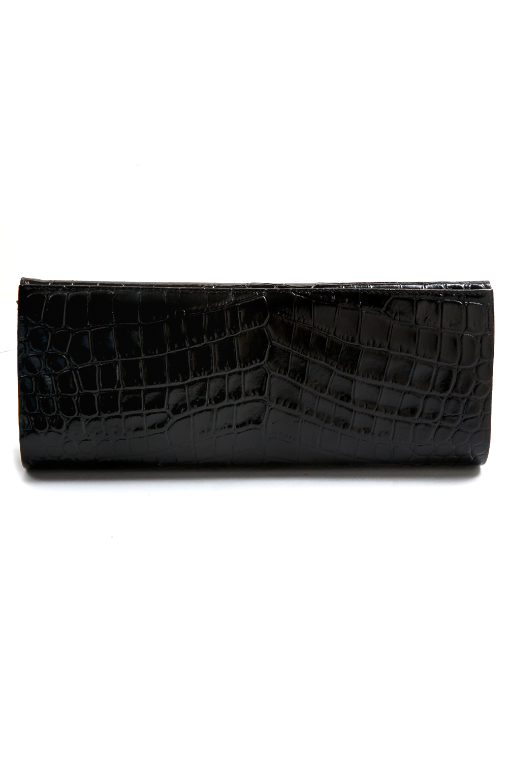 Mel Boteri | 'Audrey' Cocktail Clutch | Black, Croc-Effect Glazed Leather | Back